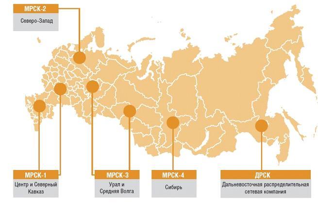 Рис. 1.8. Схема расположения МРСК на территории РФ